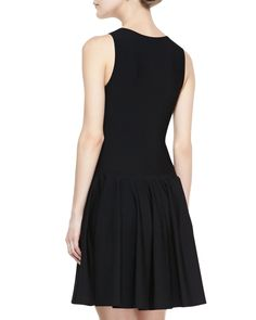Alexander McQueen Sleeveless Dropped-Waist Dress, Black - Neiman Marcus