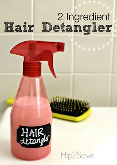 Homemade Hair Detangler Spray (Only 2 Ingredients) by Hip2Save.com. Get rid of those tangles and save money while you're at it with your own hair detangler.
