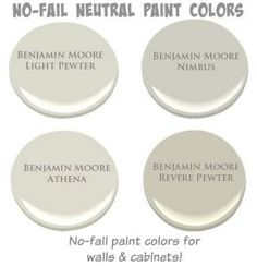 No-Fail Neutral Paint Colors. No-Fail Neutral Paint Colors for walls and cabinets. Benjamin Moore Light Pewter. Benjamin Moore Nimbus. Benjamin Moore Athena. Benjamin Moore Revere Pewter. #BenjaminMoorePaintColors #Nofailneutrals #Nofailpaintcolors #Cabinetnofailpaintcolor #neutralnofailpaintcolor #BenjaminMooreLightPewter #BenjaminMooreNimbus #BenjaminMooreAthena #BenjaminMooreReverePewter Via Home Bunch