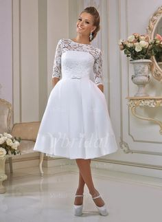 Wedding Dresses - $129.99 - A-Line/Princess Scoop Neck Knee-Length Satin Lace Wedding Dress With Ruffle Bow(s) (0025095362)