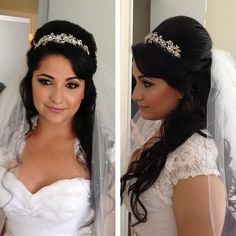 Wedding hair hairstyle brown black curly wavy