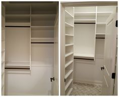 White Melamine Closet With Adjustable Shelving, Double Hang, And Long Hang.