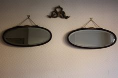 Pair of Oval Bevel-edged Wall Mirrors with Roses by ArthurandEde