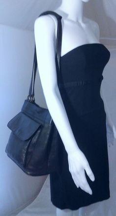 VIntage Colombian Leather Shoulder Bag Bucket Lightweight Daybag in Black | Clothing, Shoes & Accessories, Women's Handbags & Bags, Handbags & Purses | eBay!
