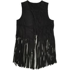 Blank NYC Fringe Vest ($69) ❤ liked on Polyvore featuring outerwear, vests, jackets, alice fabray, tops, black, blanknyc, vest waistcoat, long waistcoat and long sleeveless vest