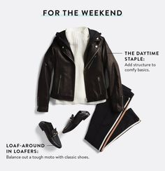 Does this look come in petite? I love the athletic inspired black pants. The black leather moto jacket and white sweater make it casual, but still sophisticated. I like the entire look as well as each piece on it's own. I would love to see these pieces in future Fixes.