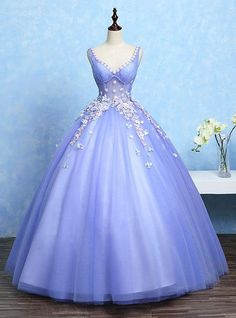 Violet Quinceanera Dresses V Neck Ball Gown Illusion Waist Boned Sleeveless Flowers Beading Floor Length Princess Pageant Dresses Gold Prom Dresses, Prom Dresses For Sale, Pageant Dresses, Quinceanera Dresses, Ball Dresses, Ball Gowns, Evening Dresses, Dress Prom, Dress Wedding