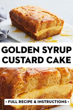 Just the way Nanna used to make it, this easy cake with become your go-to afternoon or weekend treat. You'll love the creamy custard centre and sticky golden syrup drizzle. Custard Recipes, Baking Recipes, Cake Recipes, Köstliche Desserts, Delicious Desserts, Yummy Food, Sweet Cooking, Custard Cake, Taco