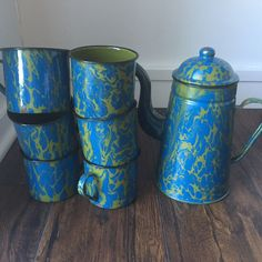 RARE Vintage Blue Green multicolored Swirl Graniteware Enamelware Coffee Pot cup
