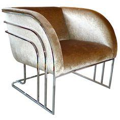 Milo Baughman Chrome Art Deco Club Chair