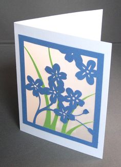 Spring Flowers Forget Me Not - Cut Paper Silhouette Art Greeting Card