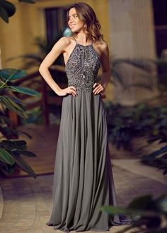 Backless atractivo del A-Line gris de gasa Kaftan vestido de noche Halter…