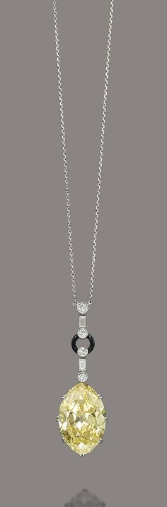 AN ART DECO DIAMOND, COLOURED DIAMOND AND ENAMEL NECKLACE