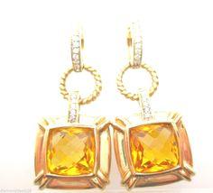 5.65CT Fine Citrine & Diamond Hoop Dangle Lever Back Earrings 14K Yellow Gold #Diamonddeals26 #HoopDangle
