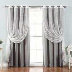 Best Home Fashion Mix & Match Tulle Sheer Lace Blackout Curtain - Set of 4 Grey, Size: 52 x 84 No Sew Curtains, Tulle Curtains, Kids Curtains, Cool Curtains, Drapery, Lace Curtain Panels, Rod Pocket Curtains, Curtain Sets, Blackout Windows