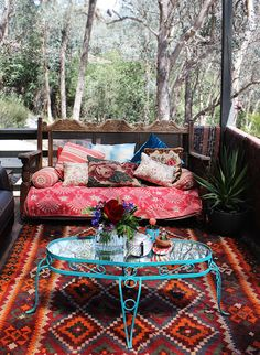 boho patio space sweet william