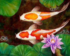 love love love these Koi - KOI Original Acrylic Painting Golden Koi Pond by ExoticBorneoArt, $225.00