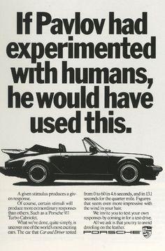 Fallon McElligott, Porsche 'Pavlov'-01 Porsche 911 Classic, Porsche 918, Porsche Cars, Ad Car, Vintage Porsche, Vintage Cars, Car Magazine, Volkswagen, Vw Bus