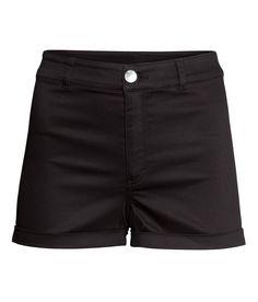 H&m Twill Shorts High Waist in Black