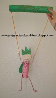 homemade prince or king puppet - kids craft using toilet paper tubes and paper towel tubes