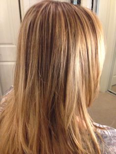 Blonde lowlights and highlights on layered hair