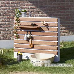 "A faucet with fun to decorate ""faucet unit: Te … - Home Decor ideas Backyard Projects, Outdoor Projects, Outdoor Decor, Garden Hose Storage, Garden Sink, Outdoor Sinks, Handmade Furniture, Garden Planning, Lawn And Garden"