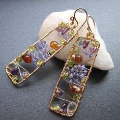 """Hammered rectangles with amethyst, topaz, peridot, and  mandarin garnet wrapped around inside, about 2-1/4"""" long.     Available in 14k gold filled & sterling silver"""