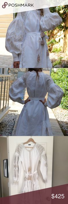 Hand Embroidered Linen Ukrainian Vyshyvanka Dress Beautiful, hand-embroidered linen Ukrainian Vyshyvanka Vita Kin-Style Dress. This is from the website Fanm Mon. I wore this one time only, it's been dry-cleaned and is in pristine condition.  Authentic, hand-made 100% Italian linen with silk/cotton embroidery. This is the real deal, it's beautifully made by hand, not in a factory in China. I paid $585, it was worn only once.  Perfect for a modern wedding dress alternative.  Size  - small…
