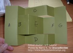 """This tutorial is labeled a level card, and may be challenging for newer cardmakers. Don't get discouraged if this is not your """"thing!""""The Trifold Shutter Card is… Tri Fold Cards, Fancy Fold Cards, Folded Cards, Trifold Shutter Cards, Step Cards, Shaped Cards, Pop Up Cards, 3d Cards, Card Making Techniques"""