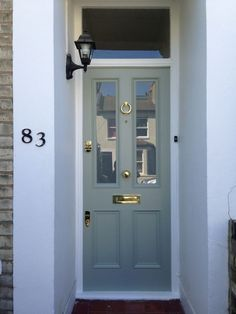 New Victorian Front Door Furniture Farrow Ball Ideas Farrow And Ball Front Door Colours, Gray Front Door Colors, Grey Front Doors, Modern Front Door, Painted Front Doors, Front Door Design, Front Door Porch, Front Door Entrance, House Front Door