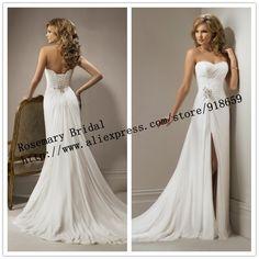 Floor Length Front Side Slit Beach Bridal Gown Chiffon Wedding Dresses 2014 Ivory / White Wedding Dress $149.00