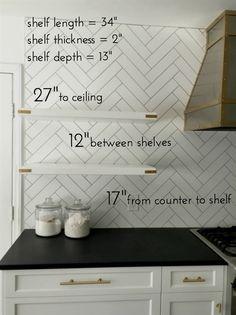 open-kitchen-shelves-measurements + gold campaign additions shelves Details on Our Floating Kitchen Shelves Kitchen Redo, Kitchen And Bath, Kitchen Ideas, Gold Kitchen, Kitchen Craft, Cheap Kitchen, Design Kitchen, Küchen Design, Layout Design