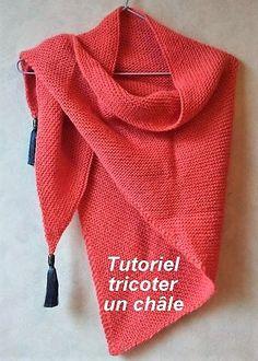 Knitting a shawl, the tutorials - Tricot Easy Crochet Stitches, Crochet Hooks, Crochet Pattern, Knit Crochet, Diy Headband, Knitted Headband, Rustic Bridal Bouquets, Bridal Outfits, Garter Stitch