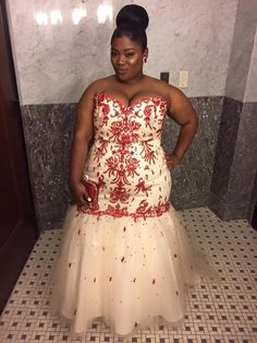 Beautiful cream and red plus size prom dress