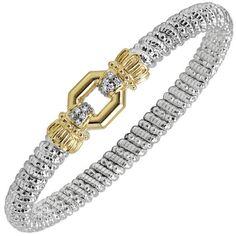 Vahan Sterling Silver & 14K Yellow Gold Diamond Rectangular Octagon Bangle Bracelet