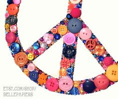 Peace Signs  8x10 Button Art Peace Sign  Buttons & Swarovski