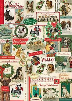 Cavallini Christmas Dogs Wrapping Paper