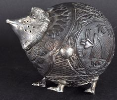 A RARE 18TH/19TH CENTURY SILVER MOUNTED COCONUT DESK SANDER as a HEDGEHOG with…