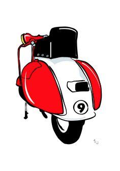 Vespa illustrated Vespa Ape, Lambretta Scooter, Vespa Scooters, Vespa Illustration, Vespa Girl, Motorcycle Art, Mopeds, Retro Art, Italian Style