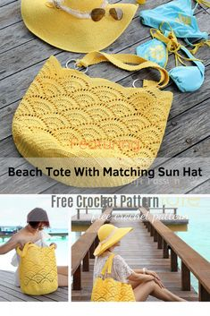 Awesome Crochet Beach Tote With Matching Sun Hat - Knit And Crochet Daily Crochet Beach Bags, Crochet Tote, Crochet Handbags, Crochet Purses, Free Crochet, Knit Crochet, Crochet Shell Stitch, Tote Bags Handmade, Beach Tote Bags