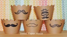 25 Mustache - Kraft Cupcake Wrappers - Cardstock (Baby Shower, Modern, Trendy, Moustache, Movember, Stache, Tan, Cupcake Wraps, Wedding)