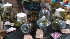 Desk top moss terrariums with crystals by Avalon Faire Naturals Moss Terrarium, Terrariums, Snow Globes, Desk, Table Decorations, Crystals, Nature, Top, Home Decor