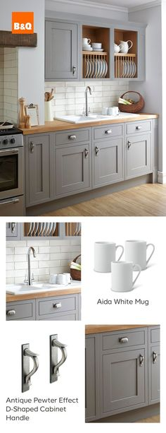 Why wouldn't you want to tackle the washing up in this beautiful Carisbrooke Taupe Framed kitchen? Just flip the tap and bring on the bubbles as you take in its sophisticated blend of natural wood, warm grey tones and detailed cabinetry. - Our Home Decor Grey Kitchens, Home, Kitchen Cabinets, Kitchen Decor, Kitchen Cupboards, New Kitchen, Kitchen Diner, Home Kitchens, Kitchen Design