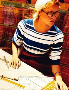 Erin Wasson for Vogue Paris April 2013 by Mario Testino | emulating German Archaeologist Maria Reiche (1903-1998)