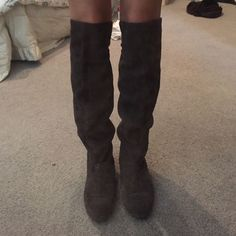 Grey Knee High Boots