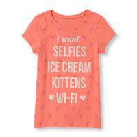 Girls Short Sleeve 'I Want: Selfies Ice Cream Kittens Wi-Fi' Flamingo Print Glitter Graphic Tee