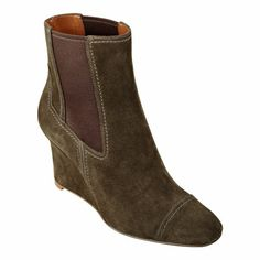 """Oh my!!!!  Santa, I've been VERY good this year...  Imagine. Our Xepted ankle boots have a square-toe and a slender wedge heel for a silhouette that's blocky and chic. Elastic goring on both sides of these ankle boots ensures a snug, secure fit. Suede upper. Man-made sole. 3"""" wedge heel. Women's shoes. Booties. Ankle boots. Imported."""