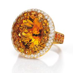 Citrine, Red Sapphire & Diamond Ring