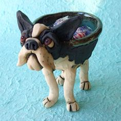Boston Terrier Ceramic Bowl Sculpture by RudkinStudio on Etsy