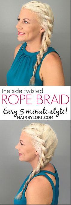 Side Rope Braid tutorial - easy 5 minute hairstyle